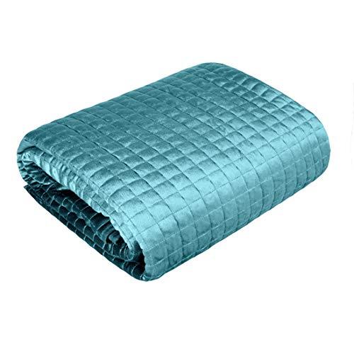 Eurofirany, copriletto trapuntato in velluto, elegante e glamour, camera da letto, soggiorno, camera degli ospiti, salotto, salotto, 220 x 240 cm, colore: blu