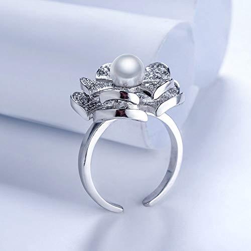 LYLLXL Offene Ringe Für Damen,Vintage Einstellbare Öffnen Silber Drehbar Flower Pearl Weihnachten Geschenk Schmuck Für Hochzeit Party Frauen Männer Paare