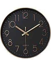 HZDHCLH 掛け時計 電波時計 おしゃれ 北欧 連続秒針 静音 壁掛け時計 自動受信 リッピング 掛時計 インテリア 大数字 見やすい 30cm