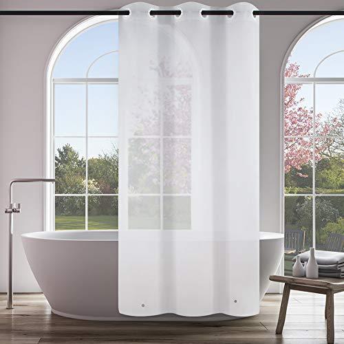 Furlinic Duschvorhang Überlänge Schmaler Badvorhang Anti-schimmel für Kleine Badewanne und Dusche Vorhang PEVA Wasserdicht Wasserabweisend Frost 120x210cm mit Groß Ösen und Magnet.
