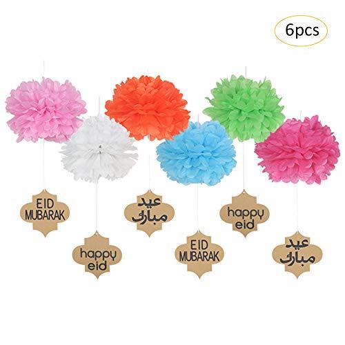 Lembeauty Blumenbälle aus Seidenpapier, hängende Puscheln mit Eid-Mubarak-Schildern, für Partys, Aktivitäten im Einkaufszentrum, als Fenster-Dekor etc., 6 Stück