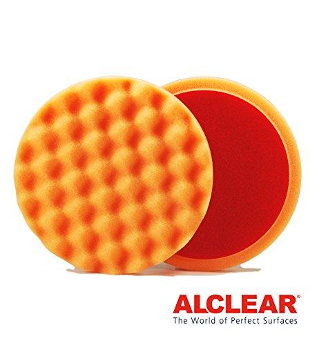 ALCLEAR 5616030AH polijstpad tegen hologram, auto polijstspons, gewafelt, diameter: 160x30 mm, oranje, set van 2, polijstpad polijsten pad spons polijstschuim voor polijstmachine