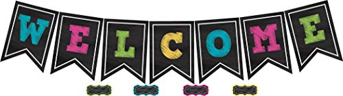 Teacher Created Resources Chalkboard Brights Welcome Pennant Bulletin Board 5614