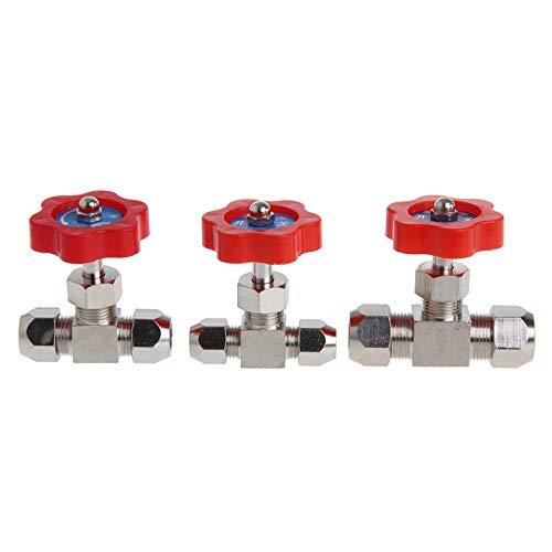 FCKJ Válvula 1Pc Tubo Durable latón Chapado en níquel Plug válvula de Aguja OD 6mm / 8mm / 10mm Válvula de decoración del hogar (Specification : 10mm)