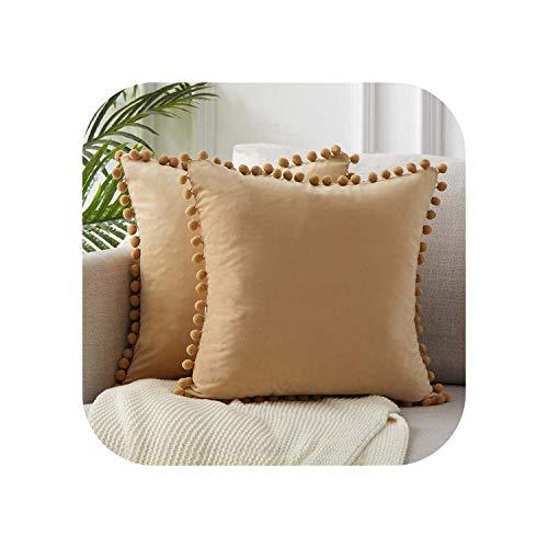 My cat - Fundas de almohada de terciopelo suave, funda de cojín cuadrada decorativa con bolas para sofá cama, almohada de 2 a 50 cm x 50 cm