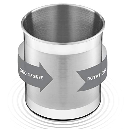 Extra Large Stainless Steel Kitchen Utensil Holder - 360° Rotating Utensil Caddy - Weighted Base for Stability - Utensil Crock With Removable Divider for Easy Cleaning - Countertop Utensil Organizer.