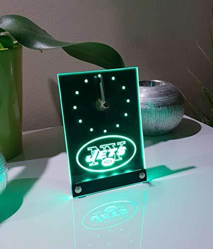 New York Jets Led Tischuhr Tischlampe Neonschild Neu 3D Neon Uhr Wanduhr