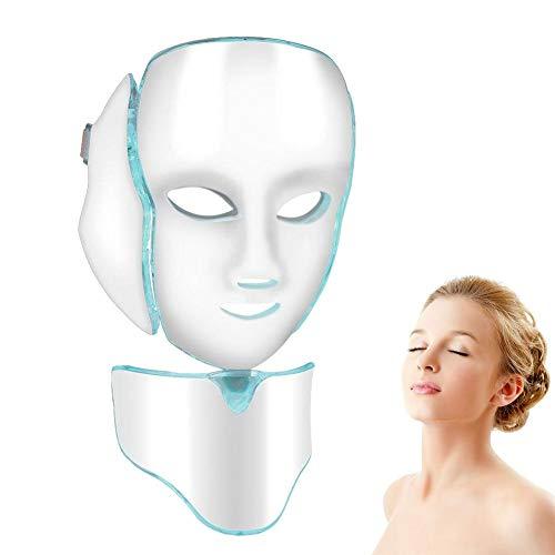 Led Masque Facial, Masques Faciaux et de Beauté du Cou à Sept Couleurs, Adaptés à L'amélioration de L'état de la Peau, à la Diminution Des Ridules et Au Blanchiment de la Peau