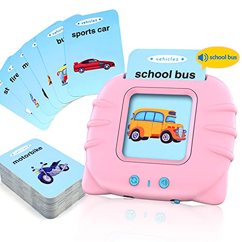 LinQool Toddler Flash Cards  56 pcs Sight Words Flash Cards Kindergarten Educational Toys for 2 3 4 5 Year Old Boys Girls Learn Animals Colors People Vehicles(Pink Machine)