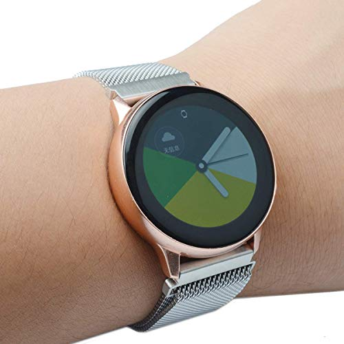 GOSETH Compatible with Samsung Galaxy Watch Active (40mm) Bands/Active2 (44mm) Bands, 20mm Mesh Stainless Steel Strap for Galaxy Watch Active/Active2 (Silver)