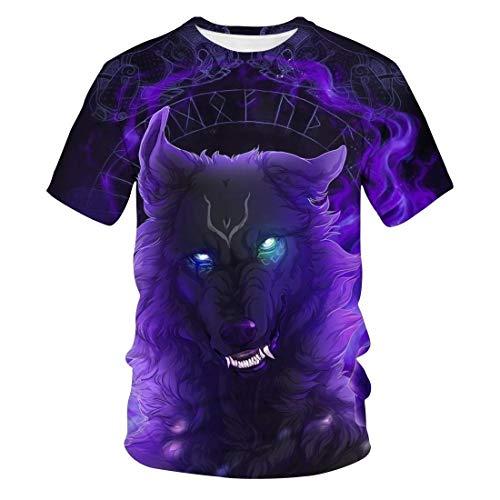 Zaima 3D Printed T-Shirt Cartoon Wolf Pattern Men's Short Sleeve Outdoor Fitness Shirt