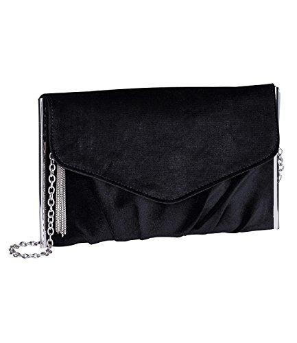 SIX mittelgroße Damen Handtasche in Samt Optik, Clutch, Pochette, Abendtasche mit Umhänge Kette, schwarzer Samt (726-060)