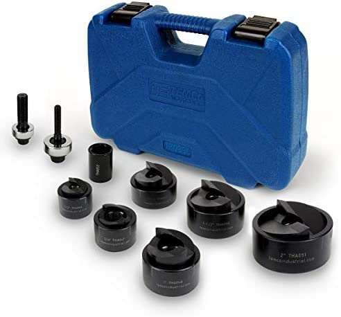 TEMCo TH0390 Manual Knockout Punch Driver Kit Set for inch to 2 inch Electrical Conduit Hole product image