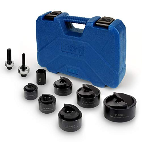 TEMCo TH0390 – Manual Knockout Punch Driver Kit (Set) for ½ inch to 2 inch Electrical Conduit Hole Sizes (1/2