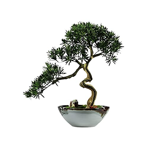 YUXINYAN Decorar 25.59 Pulgadas Simulación Bienvenido Pine Tree Bonsai Árbol de simulación Jardín al Aire Libre Decoración del hogar Nuevo árbol de simulación Chino Árbol Planta Artificial Adornos