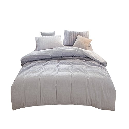 UMI. Essentials Seersucker 100% Cotton Yarn Dyed Duvet Cover Set with Two Pillow Cases, 200 x 220 cm,