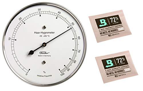 Lifestyle-Ambiente Fischer Haar-Hygrometer Made in Germany und 2 Stk Calibration Kits