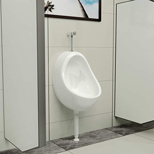 Tidyard Wandurinal aus Keramik Mit Spülventil & Ablauf Urinal Zulauf für die Wandmontage berührungsloses Pissoir Urinale,Einfach zu reinigen und zu installieren