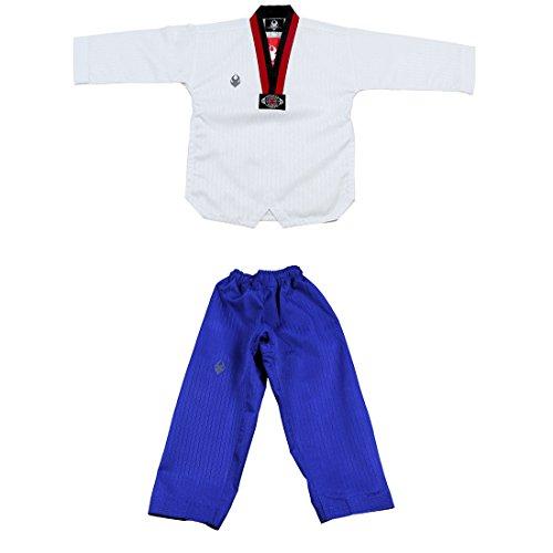 SANGA Corea del Taekwondo Uniforme poom dobok poom Pantalones poomsae y Entrenamiento para Hombre 150 (140-150cm Altura) (4.59-4.92ft) Blanco (Amarillo v-Cuello)