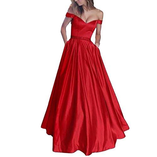Anmain Abito Da Sera Bohémien Elegante Senza Maniche Scollo A V Lungo Senza Maniche Per Donna [Rosso ,Piccola]