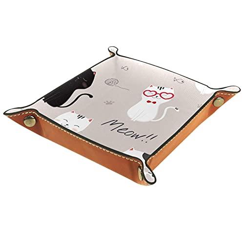 Bandeja de Cuero Dibujos animados lindo gato Almacenamiento Bandeja Organizador Bandeja de Almacenamiento Multifunción de Piel para Relojes,Llaves,Teléfono,Monedas