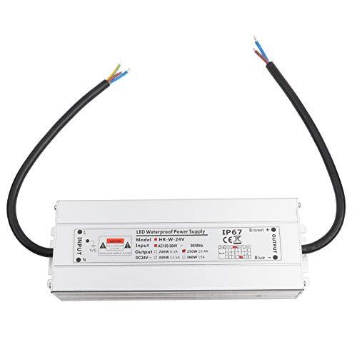 12V/24V 250W LED Impermeable Controlador Transformador Fuente de Alimentación Fuente de Alimentación de Luz de Tira IP67(24V 10.4A HRW-24V250W)