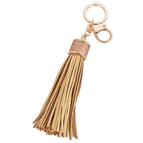 Artily Leder-Quasten-Schlüsselanhänger, modischer Quasten-Schlüsselanhänger für Damen, Handtasche, Handtasche, Tasche, Anhänger, Dekoration, Accessoire, Geschenk, gold (Gold) - 0602PAH9J18J