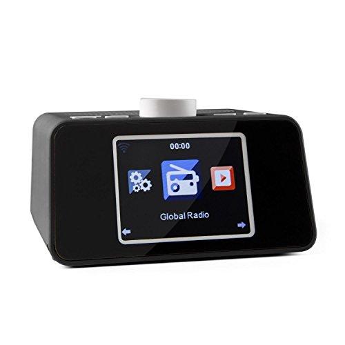 Auna - i-Snooze, Design Internetradio, Radiowecker, Stereo-Lautsprecher, WLAN, MP3-fähiger USB-Port, Wetter- / Börsenkurse-Anzeige, UPnP/DLNA-Streaming, Dual-Alarm, AUX-Eingang, schwarz