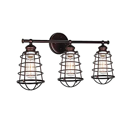 Windsor Home Deco WH-63131 Vanity Light, Industrial Rustic Metal Cage Wall Light for Bathroom Lighting, 3 Lights Bathroom Lamp Over Mirror