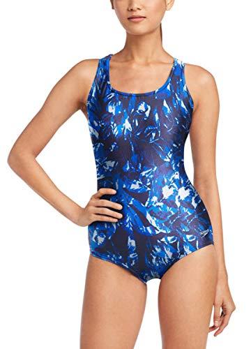 Speedo Womens Ultraback One Piece Swimsuit (Multi Blue, Medium)