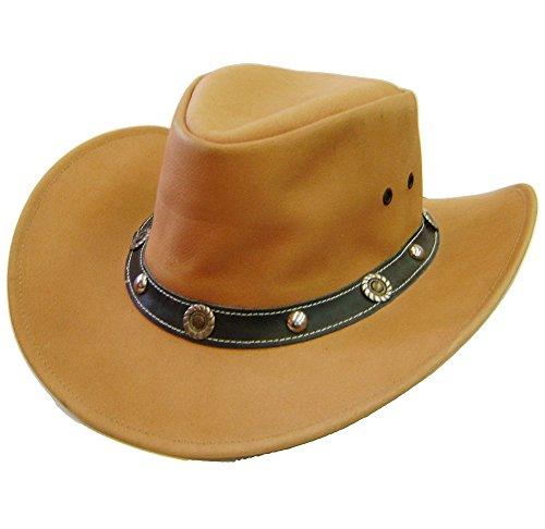 Modestone Unisex Hatband Conchos Chinstring Loop Leather Chapeaux Cowboy Beige