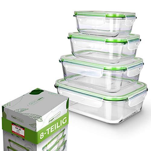 Fresh Master Frischhaltedose Glas Set - Testurteil: SEHR GUT - 100{384cbb9e4b0ca29cefae8adcd459f0dffbefa5dd9241aa288bc58e49e7ab8a40} auslaufsichere + luftdichte Vorratsdosen mit Deckel I Vorratsdosen Glas Meal Prep Boxen Glas Aufbewahrungsbox (8 teilig)