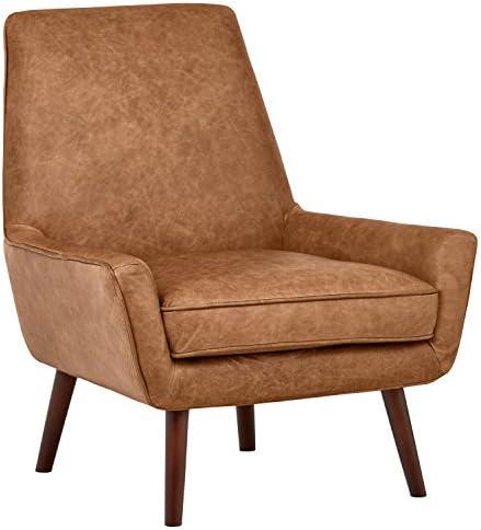 Best Amazon Brand – Rivet Jamie Leather Mid-Century Modern Low Arm Accent Chair, 31