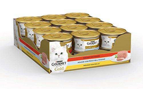 Gourmet Gold Gatto Mousse con Manzo, con Pesce dell'Oceano, con Pollo, Confezione da 24 Pezzi x 85 g