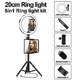 Anillo De Luz LED Selfie con Trípode, Regulable 3200-5500K, Utilizado para Maquillaje De Teléfonos Inteligentes En Vivo Youtube En Vivo,20cm,Package Two