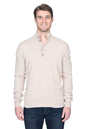State Fusio Men's Button Down Mock Neck Sweater Cashmere Merino Wool Polo High Neck Pullover