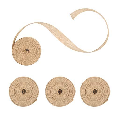 TAZEMAT 4 Stück Juteband Natürliche Hessische Bänder Vintage Leinenband DIY Dekoration Natur Farbe Ideal für Hochzeit Kranz Handwerk Basteln Weihnachten (10 M X 2.5 cm)