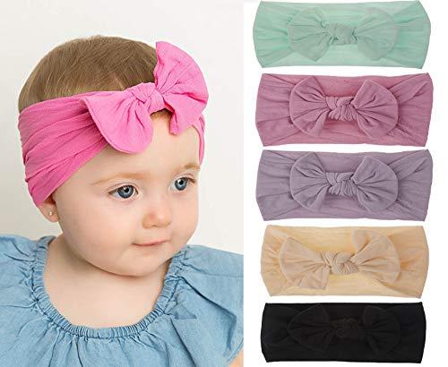Casue baby hoofdband meisje Newborn baby hoofdband meisje haarband katoen elastische stretch turban kleine kinderen hoofdbanden baby meisjes knopen hoofdband, C-5 Packung