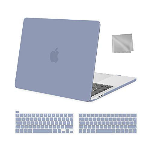 MOSISO MacBook Pro 13 inch Case 2016-2021 Release M1 A2338 A2289 A2251 A2159 A1989 A1706 A1708, Plastic Hard Shell Case&Keyboard Cover&Wipe Cloth Compatible with MacBook Pro 13 inch, Lavender Gray