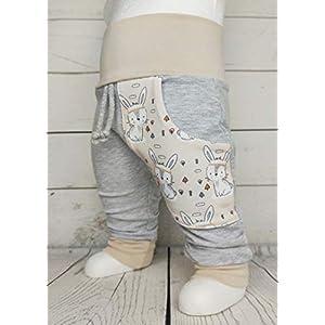 Baby Pumphose mit Tasche Gr.50-104 Boho Hase Häschen grau beige Handmade Puschel-Design®