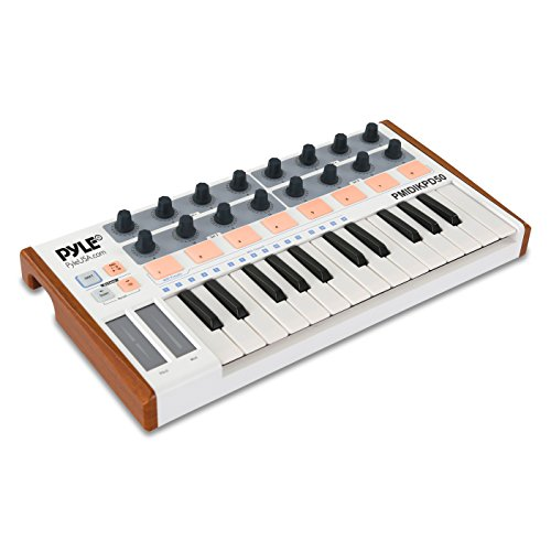 Pyle USB MIDI Keyboard Controller - Portable Recording Equipment Kit w/ 25 Synth Piano Keys, 8 Drum Beat Pads, 16 DJ Fader Knobs - Mini Hardware Buttons Control Any Electronic Music DAW