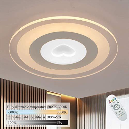 Moderne led-plafondlamp super circulaire plafondlamp spiegel reflecterende driekleurige dimbare en verwijderbare slaapkamer woonkamer keuken decoratieve licht [A ++ energiebesparing], 52 cm