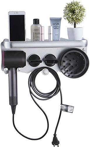 Leekayer Soporte para secador de pelo supersónico Soporte para accesorios de secador de pelo Dyson para montaje en pared para baño, sin punzón