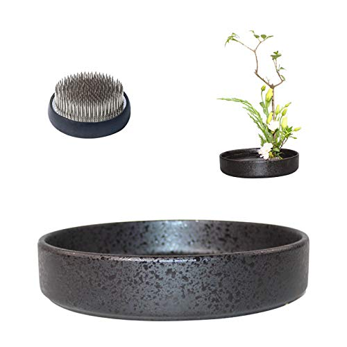 WANDIC, vasi Rotondi in Ceramica Ikebana con Rana Rotonda da 6 cm, per composizioni Floreali Ikebana, Decorazione per la casa, Colore: Nero maculato