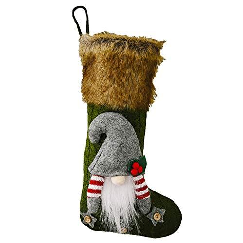 WE-WHLL Calcetín de Navidad Lindo 3D Gnomo Sueco Calcetines de Navidad Colgantes Chimenea Árbol Decoraciones Regalo Caramelo Bolsa-Verde
