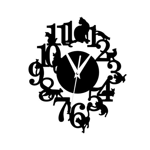 Yagosodee Orologio da Parete Gatto Scava Fuori Orologio da Parete per Soggiorno Ufficio Moderno Decorazione Creativa (Nero)