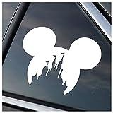 Mickey Head with Princess Castle Vinyl Car Window Decal Sticker (White)