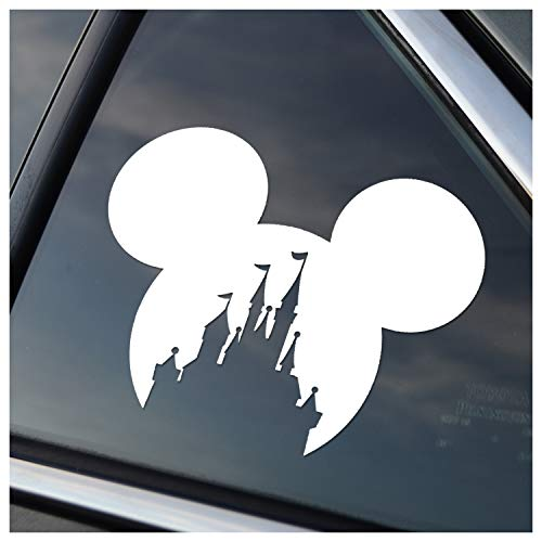 Mickey Head with Princess Castle Vinyl Car Window Decal Sticker (White)