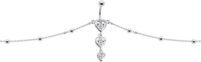 Body Candy Stainless Steel Clear Accent Sweetheart Dangle Belly Ring Belly Chain