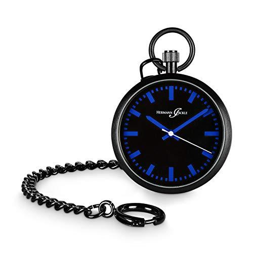 Hermann Jäckle - Berlin Quarz Taschenuhr blau für Moderne Herren I Trendige Taschenuhr mit hochwertigem Miyota Quarzwerk I Taschenuhr Herren I Qualitätshandwerk inklusive Kette und Uhrenbox
